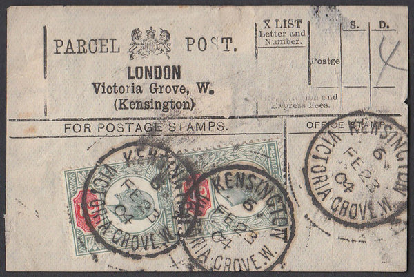 85557 - PARCEL POST LABEL. 1904 label LONDON, Victoria Gro...