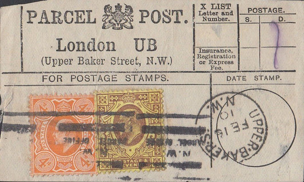 85567 1910 PARCEL POST LABEL.