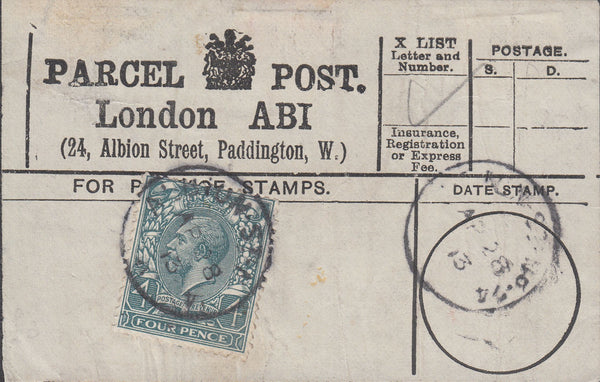 85583 - PARCEL POST LABEL. 1913 label LONDON ABI (24 Albio...