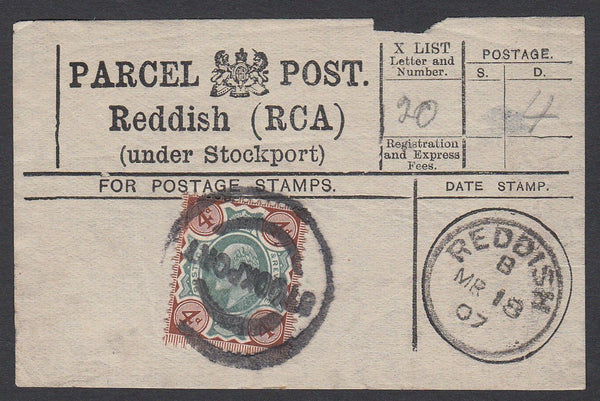85631 - PARCEL POST LABEL. 1907 label Reddish (RCA) (under...