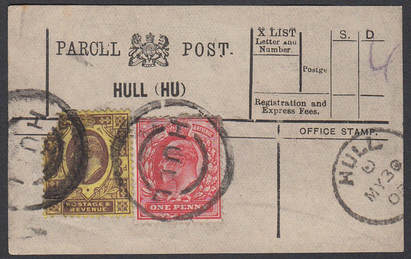 85645 - PARCEL POST LABEL. 1903 label HULL (HU) with KEDVI...
