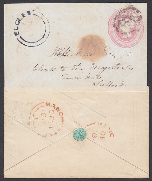 85671 - WAFER SEAL. 1d pink envelope to Salford with indis...