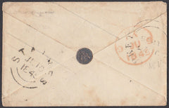 86096 - WAFER SEAL. 1845 1d pink envelope Newmarket to Sta...