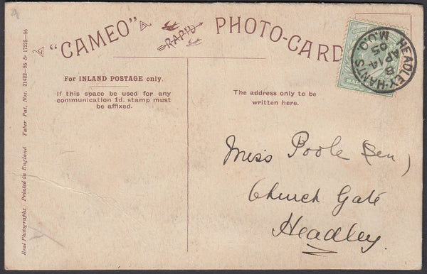 86150 - HANTS. 1905 postcard used locally in Headley with ...