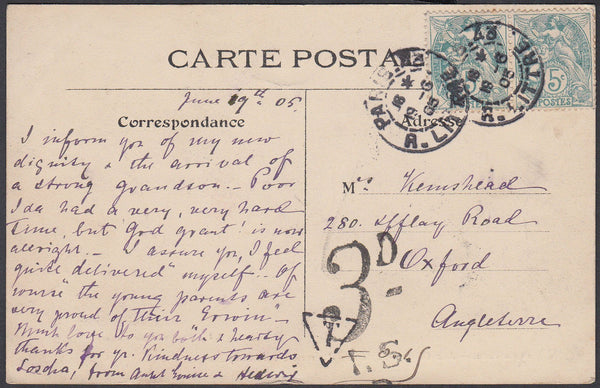 86163 - 1905 UNDERPAID MAIL PARIS TO OXFORD
