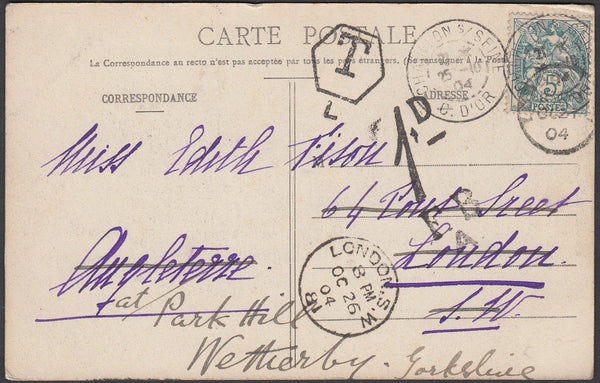 86169 - 1904 UNDERPAID MAIL FRANCE TO LONDON/RE