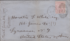 86212 - ISLE OF WIGHT. 1877 envelope Ryde to USA with 2½d ...