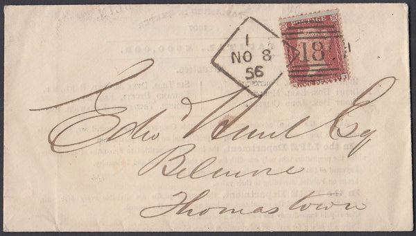 86237 - DUBLIN DIAMOND SPOON CODE 1 (RA63)/'WEST OF ENGLAND FIRE AND LIFE INSURANCE COMPANY .... DUBLIN' ADVERTISING ENVELOPE.