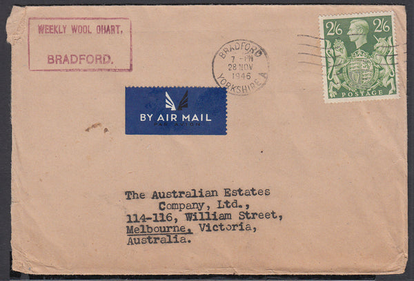 86247 - 1946 MAIL BRADFORD (YORKS) TO AUSTRALIA 2/6D YELLOW-GREEN (SG476b). Envelope Bradford, Yorks to Melbourne, Austra...