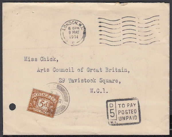 86268 - 1951 UNPAID MAIL. Envelope used locally in London, postage unpa...