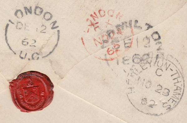 86292 - 1862 MAIL HENLEY ON THAMES TO CANADA. Envelope Henley on Thames to ...