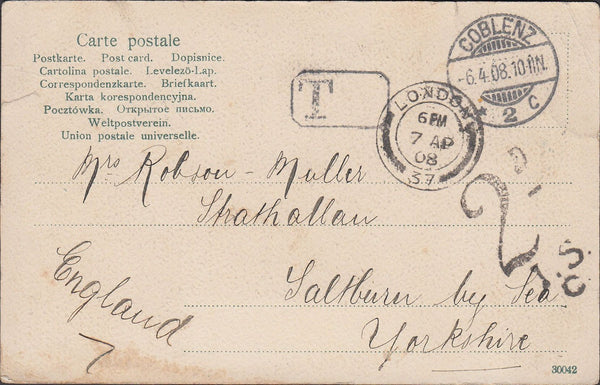 86342 1908 UNPAID MAIL GERMANY TO YORKSHIRE.