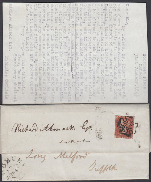 86385 - 1843 MAIL LONDON TO LONG MELFORD REF. RIDER HAGGARD. Entire Somerset Place London to Long Melford ...