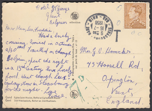 86387 - 1958 POST CARD STRASBOURG TO KENT WITH UNACCEPTED BELGIAN STAMP. 1958 post card Ghent to Orpington with Belgium 3f e...