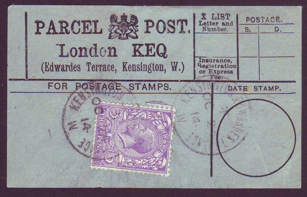86424 - PARCEL POST LABEL. 1914 blue label LONDON KEQ (Edw...
