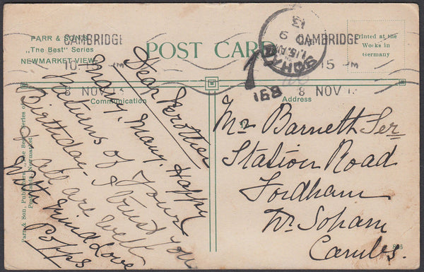 86430 - 1913 UNPAID MAIL USED LOCALLY IN CAMBRIDGESHIRE. 1913 post card of horses returning from exer...