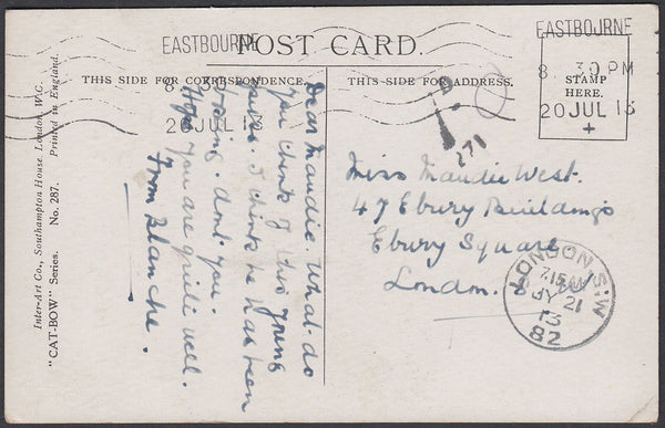 86432 - 1913 UNDERPAID MAIL EASTBOURNE TO LONDON. 1913 post card Eastbourne to London with postage un...