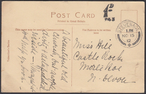 86435 - 1912 UNPAID MAIL STEVENAGE TO MORTE HOE, NORTH DEVON. 1912 post card Stevenage to North Devon postage unp...