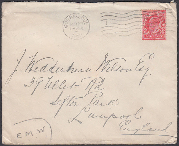 86461 - 1910 MAIL CANADA TO UK USING GB STAMP. Envelope Quebec to Liver...