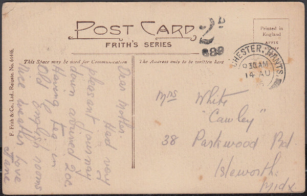 86468 - 1915 UNPAID MAIL WINCHESTER TO ISLEWORTH MIDDLX. Post card Winchester