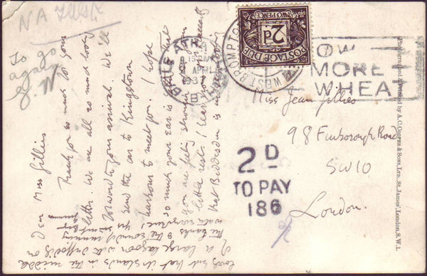 86478 - 1937 UNPAID MAIL DUBLIN TO LONDON. Postcard Dublin to London with postage unpaid...