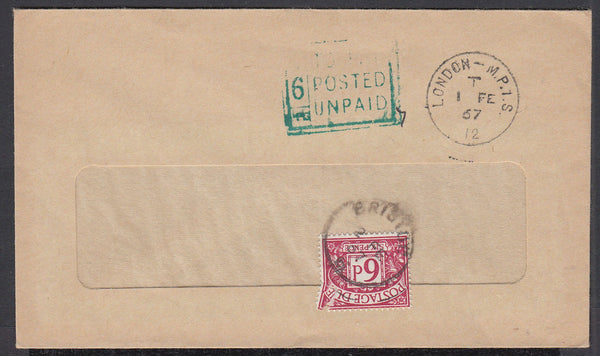 86504 - 1967 UNDERPAID MAIL. Window envelope cancelled LON...