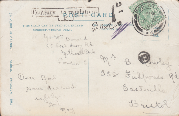 86515 - 1905 UNDERPAID MAIL POPLAR TO BRISTOL/'CH' INSPECTOR'S MARK OF BRISTOL (BS199). Post card Poplar to Eastville Bristol with KEDVII ½d can...