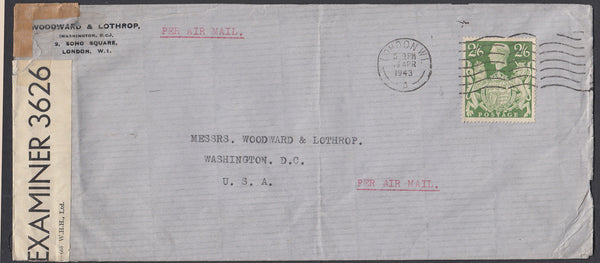 86516 - 1943 MAIL LONDON TO USA/2/6D YELLOW-GREEN (SG476b). Large envelope (230x102mm) London to Washington D.C...