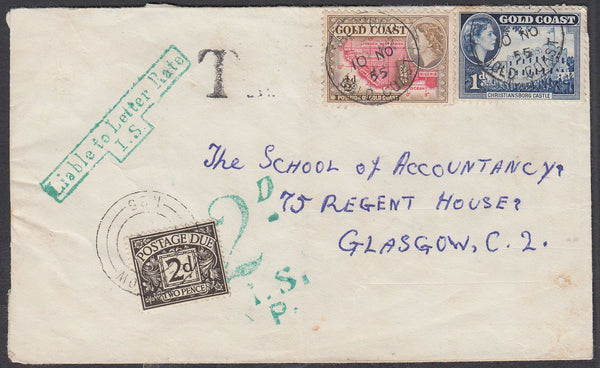86528 - 1955 UNDERPAID MAIL GOLD COAST TO GLASGOW. Envelope Gold C...