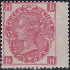 86544 - 1870 3d rose pl.6 (SG103). A good large part o.g. ...