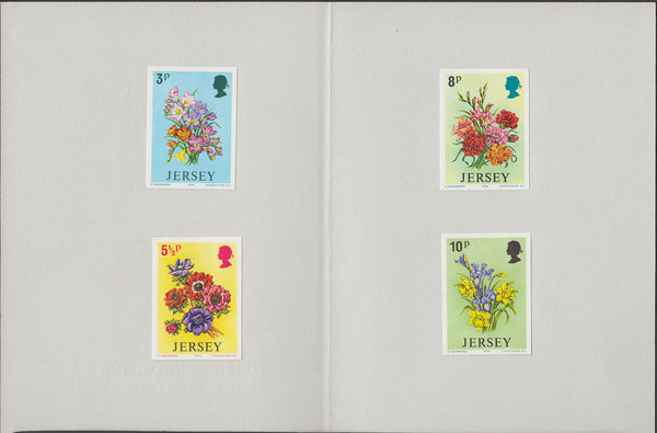 86551 - 1974 JERSEY SPRING FLOWERS IMPERF PLATE PROOFS (SG 103-106). A superb