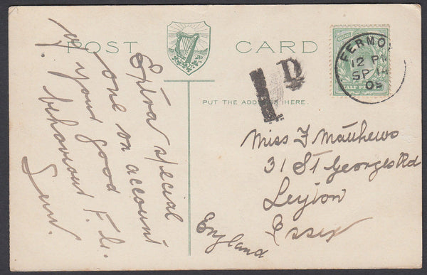 86605 - 1909 IRELAND/UNDERPAID POSTCARD FERMOY TO ESSEX. Post card of Blarn...