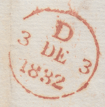 86658 - 1832 BERKS/'FARRINGDON' UDC (BR125). Entire Faringdon to London dated Dec 1 1832, on reverse...