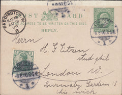 86664 - 1906 REPLY PAID PORTION OF GB KING EDWARD VII POST CARD GERMANY YO LONDON.