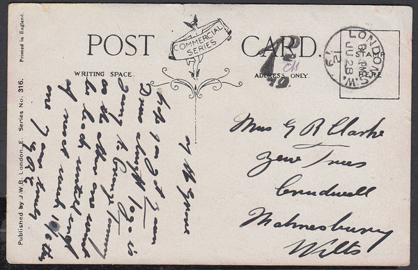 86684 - 1912 UNPAID MAIL LONDON TO MALMESBURY. 1912 post card London to Malmesbury, postage unpaid...