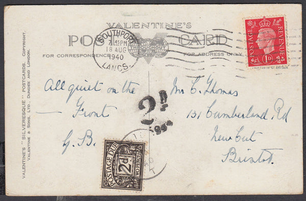 86687 - 1940 UNDERPAID MAIL. Post card Southport to Bristol with KGVI 1d ca...