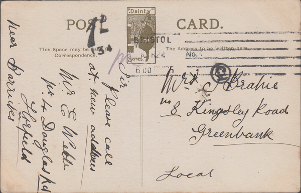 86691 - 1924 postcard used locally in Bristol with postage...