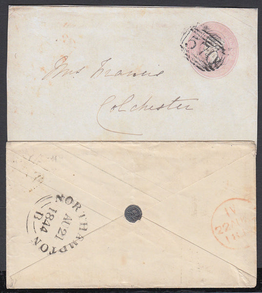 86719 - WAFER SEAL. 1844 1d pink envelope Northampton to C...