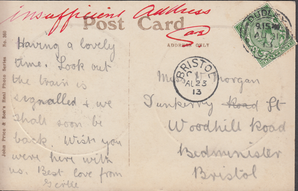 86730 - 1913 postcard Dudley to Bristol with KGV ½d cancel...