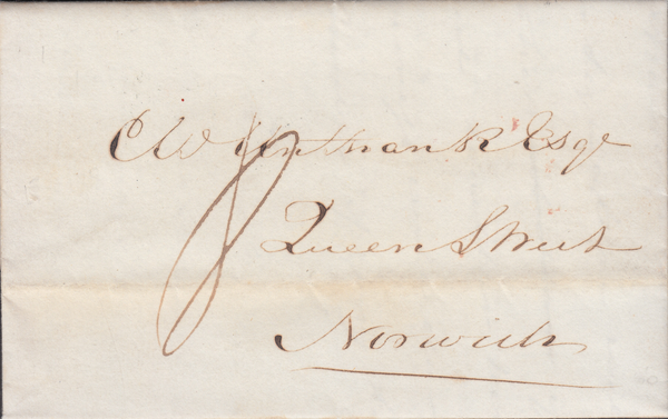 86752 - ESSEX. 1839 letter Colchester to Norwich dated Oct...