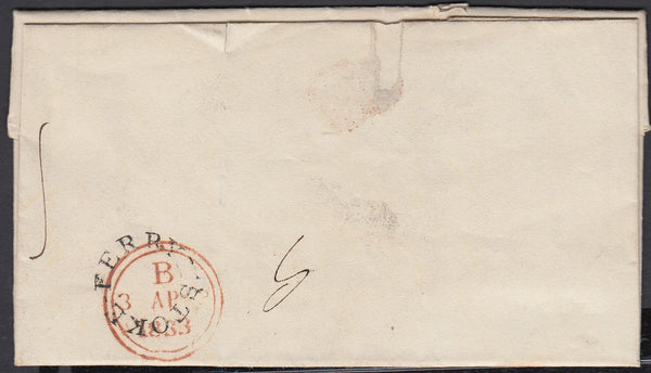 86839 - NORFOLK. 1833 letter Stoke Ferry to London. On rev...
