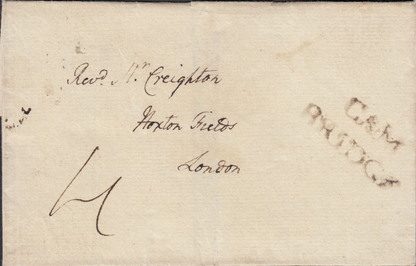 86843 - 1792 CAMBS/UNLISTED 'CAM/BRIDGE' TWO LINE HAND STAMP. Wrapper Cambridge to London with good ...