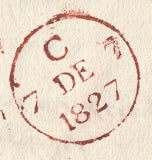 86905 - 1827 CAMBS/'CAMBRIDGE 52' MILEAGE MARK (CB50)/LECTURES ON LITERATURE. 1827 entire Cambridge to London from Marqui...