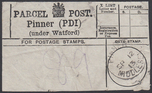 86919 - MIDDLESEX/HERTS/PARCEL POST LABEL. 1913 label PINN...
