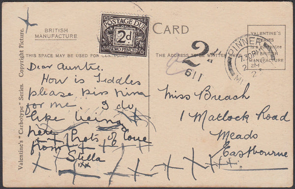 86923 - 1923 UNPAID MAIL PINNER TO EASTBOURNE. 1923 post card Pinner to ...