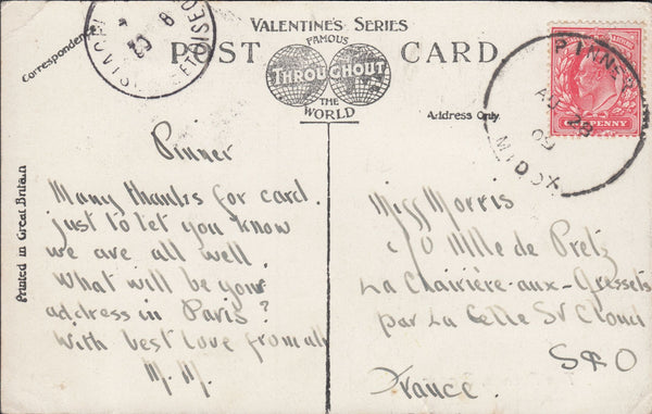 86926 - 1909 MAIL PINNER TO FRANCE WITH 'PINNER' SKELETON DATE STAMP.