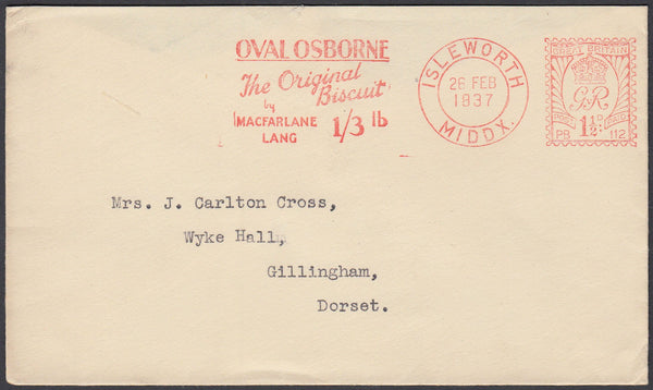 86948 - MIDDLESEX/METER MARK/ADVERTISING. 1937 envelope Is...