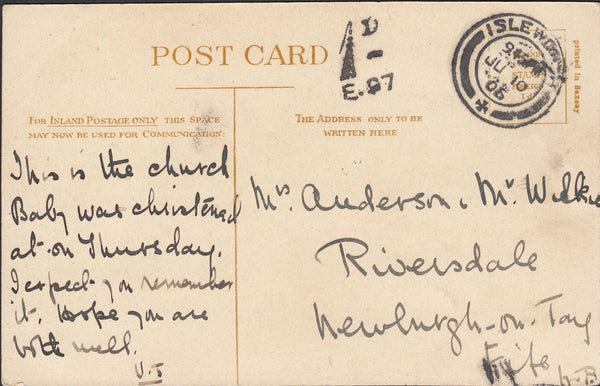 86950 - 1906 UNPAID MAIL ISLEWORTH TO FIFE. Post card Isleworth to Fife, posted unpaid