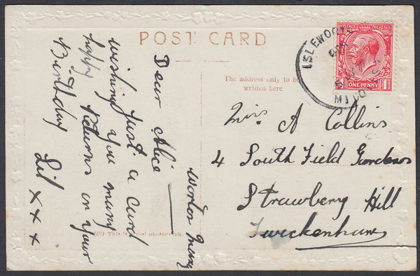 86955 - 1922 MIDDLX/'ISLEWORTH' SKELETON DATE STAMP. Post card Isleworth to Twickenham with KGV 1d...