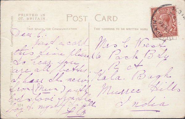 86956 - 1926 MAIL ISLEWORTH MIDDLESEX TO INDIA/'ISLEWORTH' SKELETON DATE STAMP. Post card Isleworth to India with K...